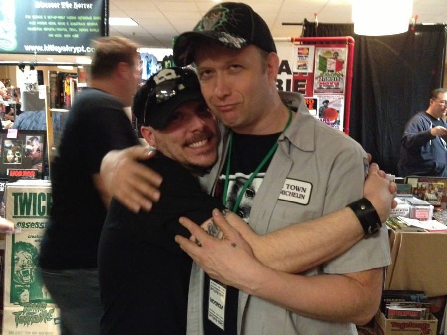 The best bloody loving around? You bet! Hugging on 'Incest Death Squad' auteur Cory Udler!