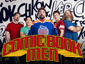 (L-R) Michael Zapcic, Ming Chen, Kevin Smith, Walt Flanagan and Bryan Johnson - Comic Book Men - Season 2 - Gallery - Photo Credit: Ben Leuner/AMC